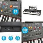 Plixio 61-Key Electric Piano Keyboard With Music Sheet Stand