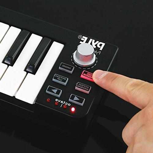 Pyle MIDI Keyboard Controller Portable Workstation Equipment Hardware Control for Laptop Computer Music PMIDIKB10