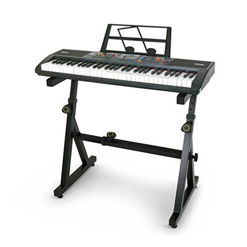 Plixio 61 Electronic Music Keyboard Piano Adjustable Z Style Stand