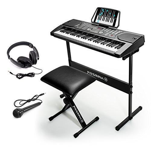 Hamzer 61-Key Portable Keyboard Piano with Stool, Headphones
